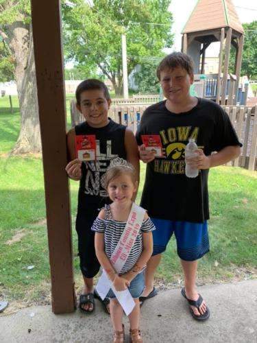 Pizza Eating Contest Child Division Winners-1st place Braeden Meyers Warnke  2nd place Dallas Sease